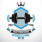 Vector Graphic Sign Composed Using Weight Disc Dumbbell And Muscular Arms Of Bodybuilder. Fitness Wo poster