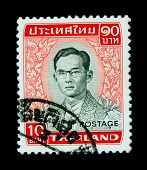 THAILAND - CIRCA 1970-th: A stamp printed in Thailand shows image of King Bhumibol Adulyadej, the wo