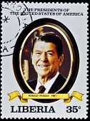LIBERIA - CIRCA 2000s: A stamp printed in Liberia shows President Ronald Reagan, circa 2000s.