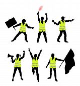 Yellow Vest Protesters Silhouettes. All The Objects, Shadows And Background Are In Different Layers. poster