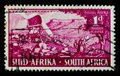 SOUTH AFRICA - CIRCA 1939: A stamp printed in South Africa shows image of a horse cart, series, circ