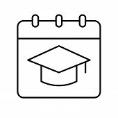 Square Academic Cap On Calendar, Education Concept Icon poster