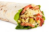 Burrito Wraps From Fillet Grilled Chicken, Lettuce, Slices Of Fresh Tomatoes, Pickles And Cheese On  poster