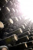 image of wine cellar  - wine bottles in wine cellar - JPG