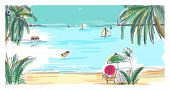 Hand Drawn Seaside Landscape. Tropical Resort With Deck Chair And Umbrella, Sand Beach, Exotic Palm  poster