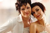 picture of gay couple  - women couple happy attractive - JPG