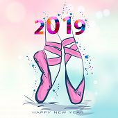 Ballet Shoes. Vector Illustration. Christmas Card With Pointe Shoes. Happy New 2019 Year. Vector Ill poster