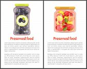 Preserved Vegetables Posters, Canned Food. Tomatoes With Bay Leaves In Marinade And Greek Olives Ins poster