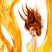 image of red hair  - fire teenager girl beautiful red hair enjoying - JPG