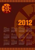 Calendar 2012 with Mayan symbol Hunab Ku. As an embodiment of harmony and balance, Hunab Ku invites