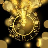 Happy New Year Luxury Golden Illustration, Clock Marking Midnight Time On Black Background. poster