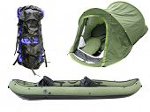 The image of inflatable boat, tent and  knapsack under the white background