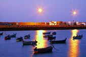 stock photo of asilah  - Sunset light in Asilah Harbor - JPG