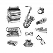 Cozy Hipster Objects By Watercolor - Black On White Background. Saxophone, Sneakers, Watches, Glasse poster