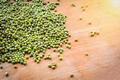 Mung Beans / Pile Of Mung Beans Seed On Wooden Background poster