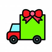 Truck With Giftbox Vector, Christmas Related Filled Design Icon, Editable Outline poster
