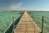View At The Wooden Pier In The Red Sea. Summer Vacation On Red Sea. View At A Clear Sea With Turquoi poster