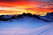 Постер, плакат: Восход свет над Шрекхорн Швейцария наследие ЮНЕСКО