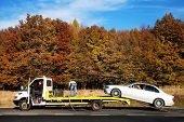 stock photo of car carrier  - Auto towing - JPG