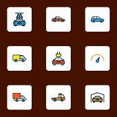 Automobile Icons Colored Line Set With Crossover, Tesla, Sedan And Other Speed  Elements. Isolated   poster