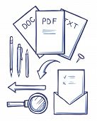 Office Documents And Envelopes Monochrome Sketches Outline Set Vector. Pdf And Doc, Text Files And M poster
