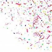 Confetti. Colorful Confetti On White Background. Festive Festive Background. Suitable For Postcard B poster