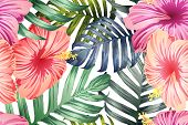 Green Red Exotic Pattern. Monstera And Hibiscus Flowers Tropical Bouquet.  Saturated Large Floral Sw poster