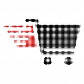 Shopping Cart Halftone Dotted Icon With Fast Speed Effect. Vector Illustration Of Shopping Cart Desi poster