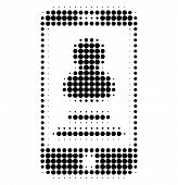 Smartphone User Info Halftone Dotted Icon. Halftone Pattern Contains Circle Elements. Vector Illustr poster