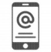Smartphone Address Info Halftone Dotted Icon. Halftone Array Contains Circle Dots. Vector Illustrati poster