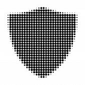 Protection Shiled Halftone Dotted Icon. Halftone Pattern Contains Circle Points. Vector Illustration poster