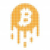 Melting Bitcoin Halftone Dotted Icon. Halftone Pattern Contains Circle Pixels. Vector Illustration O poster