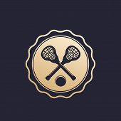 Lacrosse Badge, Emblem With Sticks And Ball, Eps 10 File, Easy To Edit poster