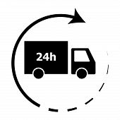 24-hour Delivery Icon Illustration Vector. Truck Lorry Free Shipping, Delivery Guarantee Transportat poster
