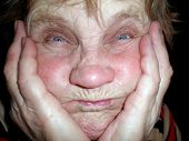 foto of old lady  - The old lady with extra funny face - JPG