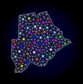 Glossy Polygonal Mesh Map Of Botswana With Glare Effect. Vector Carcass Map Of Botswana With Glowing poster