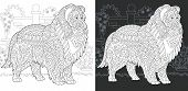 Dog. Coloring Page. Coloring Book. Colouring Picture With Rough Collie Drawn In Zentangle Style. Ant poster