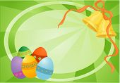 Easter Green Card With Eggs And Bells poster
