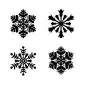 Set Of Black Snowflakes. Snowflakes Vector Icons, Snowflakes Set Vector, Snowflakes Icon, Snowflakes poster