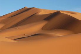 picture of sahara desert  - the sand dunes of erg chebbi in the sahara desert near the village of merzouga in morocco - JPG