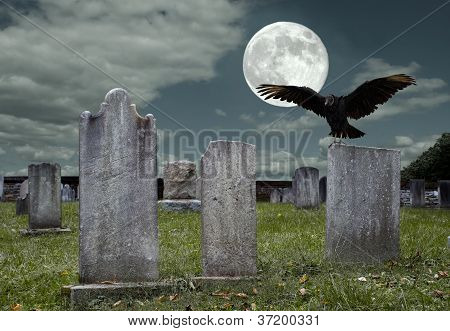 Graveyard With Full Moon