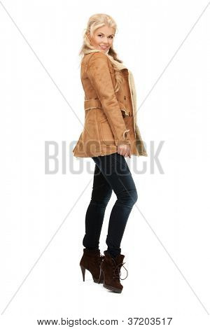 picture of beautiful woman in sheepskin jacket