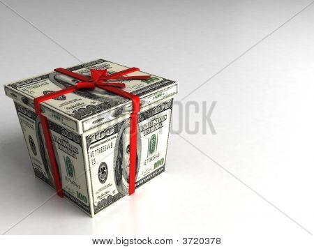 Three Dimensional Gift Box Wrapped With 100 Dollar Bills
