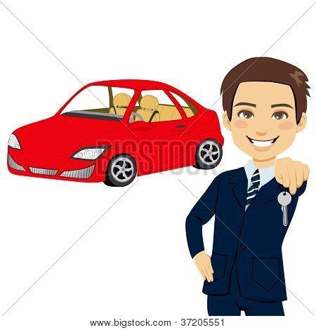 Joven vendedor de automóvil