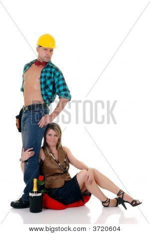 Construction Worker, Woman At Feet