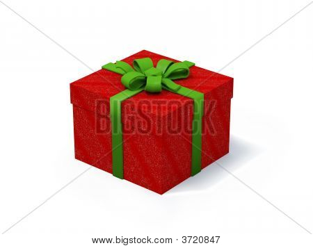 Red Present Box On White Background