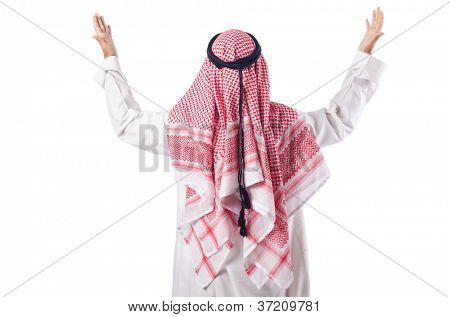 Arab man praying on the white