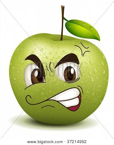 illustration envy apple smiley on a white