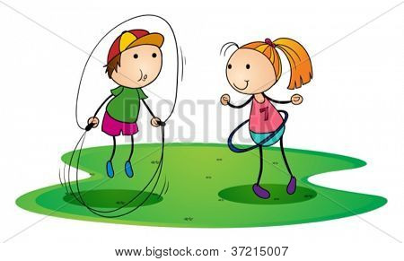 illustration of kids playing outdoor with skipping rope and ring