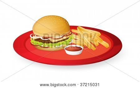 illustration of fingerchips and burger in a red dish